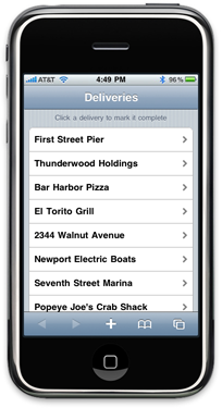 iPhone Deliveries App